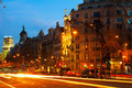 Night view of barcelona passeig de gracia spain february in winter time Stock Photos