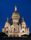Night view of Basilica of the Sacred Heart Stock Image