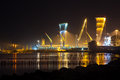 Night view of Black Sea, port of  Poti,  Georgia Royalty Free Stock Photo