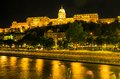 Night view of buda castle royal palace budapest in the seen from the other side the danube river Royalty Free Stock Photography