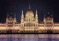 Night view of Budapest parlament Royalty Free Stock Photo