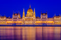 Night view of the Budapest Parliament. Royalty Free Stock Photo