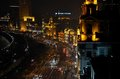 Night view of the bund shanghai china february a road running by by s pudong river photo was taken from an elevated Stock Photos