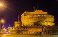Night view of Castel Sant'Angelo in Rome Royalty Free Stock Photo