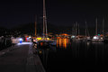 Night view of the catamaran and yacht Royalty Free Stock Photo