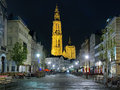 Night view of the cathedral of our lady in antwerp belgium from suikerrui street Stock Photos