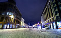 Night view at center of old riga latvia central crossroad in winter with monument freedom on a background Stock Photo