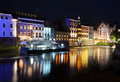 Night view on the centre of Opole city, and Odra river Royalty Free Stock Photo
