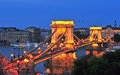 Night view of Chain bridge in Budapest Royalty Free Stock Photo