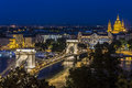 Night view of the Chain Bridge in Budapest Royalty Free Stock Photo