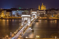 Night View of the Chain Bridge and church St. Stephen's Basilica Royalty Free Stock Photo