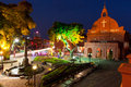 Night view of the Christ Church and the Dutch Square, Malacca Royalty Free Stock Photo
