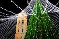 Night view of the Christmas tree in Vilnius, Lithuania. Celebrating Xmas holidays in Baltic states. Royalty Free Stock Photo