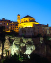 Night view of church on rocky river bank jucar in cuenca castilla la mancha spain Royalty Free Stock Photos