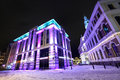 Night view at city hall in old riga latvia modern architecture and town winter Stock Photography