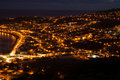 Night view on a city horta faial bay of during time Royalty Free Stock Images