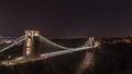 Night view of Clifton Suspension Bridge Bristol England Royalty Free Stock Photo