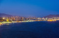 Night view of the coastline in Benidorm with city lights Royalty Free Stock Photo