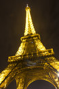 Night view of a Eiffel tower Royalty Free Stock Image