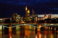 Night View of Frankfurt Skyline Royalty Free Stock Photos