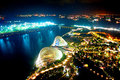 Night view of gardens by the bay an aerial in singapore is a park spanning hectares reclaimed land Royalty Free Stock Photography