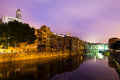 Night view of of girona picturesque houses on the river bank catalonia spain Royalty Free Stock Image