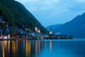 Night view of hallstatt village with christuskirche church bell tower austria Royalty Free Stock Image
