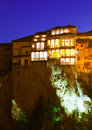 Night view of hanging houses in cuenca on rocky river bank jucar spain Stock Image