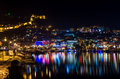 Night view of harbour, fortress and night lights in Alanya, Turkey. Royalty Free Stock Photo