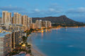 Night view on Honolulu city and Waikiki Beach Royalty Free Stock Photo