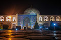 Night view of imam square and sheikh lotfollah mosque in isfahan iran Royalty Free Stock Photography
