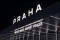 Night view international airport in Prague, Czech Republic. Royalty Free Stock Photo