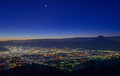 Night view of the kofu city and mt fuji from amariyama point at dawn Royalty Free Stock Image