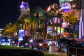 Night view of las vegas nevada usa october the strip is an approximately mile stretch boulevard Stock Images