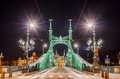 Night view of Liberty Bridge or Freedom Bridge in Budapest, Hungary Royalty Free Stock Photo