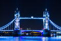 Night view london tower bridge blue light on road at city center in Royalty Free Stock Photo