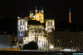 Night view of Lyon with the The La Fourviere Church Royalty Free Stock Photo