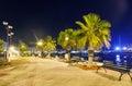 Night view Malta. bench and lantern Royalty Free Stock Photo