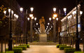Night view of the monument of nikolay gogol to russian writer st petersburg russia Royalty Free Stock Images