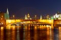 Night view of moscow kremlin in russia from the waterfront Stock Image