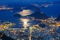 Night view mountain sugar loaf botafogo rio de janeiro brazil Royalty Free Stock Photos
