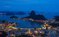 Night view of mountain Sugar Loaf and Botafogo in Rio de Janeiro Royalty Free Stock Photo