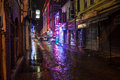 Night view of a narrow street trabzon turkey february in trabzon turkey on february trabzon is city in north eastern turkey with Stock Photos