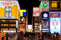 Night view of the neon advertisements numba osaka japan febbruary on feb in osaka japan is famous for its historic theatres and Stock Photos