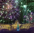 Night view of the New Year fir tree in garlands on the square in front of Kazan Cathedral in Saint Petersburg in the winter New Ye Royalty Free Stock Photo
