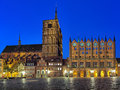 Night view of Nicholas' Church and City Hall in Stralsund, Germany Royalty Free Stock Photo