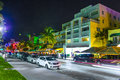 Night view at ocean drive in south miami beach july on july miami beach florida art deco life beach is one Royalty Free Stock Photos