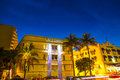 Night view at ocean drive in south miami beach july on july miami beach florida art deco life beach is one of the main Royalty Free Stock Photos