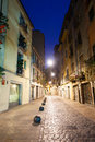 Night view of old narrow street of european city Royalty Free Stock Photo