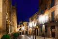 Night view of old street toledo spain Stock Photography